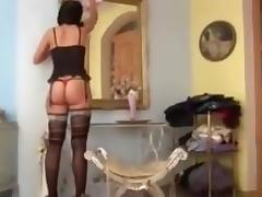Gorgeous brunette in awesome nylons gets fucked good tube porn video