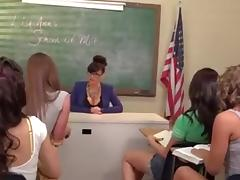 Lesbian orgy in the classroom tube porn video