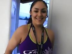 Cowgirl creampie ride, after a workout at the gym. tube porn video