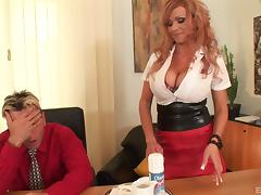 Secretary lets him suck whipped cream off her huge tits tube porn video