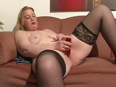 Chubby babe in nylon stockings masturbates passionately on her lonely couch tube porn video