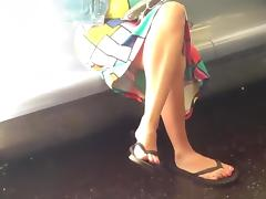 Candid crossed legs and flip flops tube porn video