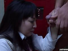 Asian school girl sucking hard on the fat don tube porn video