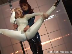 Ladies dancing in latex catsuits unzip for strapon fucking tube porn video