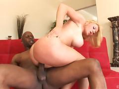 Krissy Lynn posing before enjoying a big black prick tube porn video