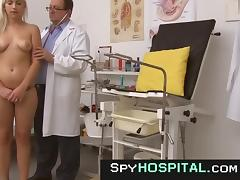 Voyeur video of hot blonde obgyn exam tube porn video