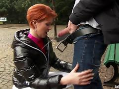 Hot redhead sucks cock in public and gets pissed on tube porn video