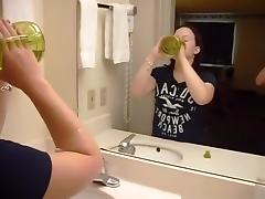 Dirty talking chubby girl watches herself get doggystyle fucked in the mirror tube porn video