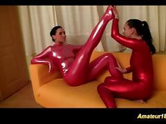 horny lesbian spandex sex gymnasts tube porn video