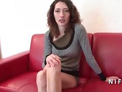 Anal casting of a pretty skinny french brunette ass gaped tube porn video