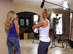 Neighborhood blonde wives have a fantastic lesbian threesome tube porn video