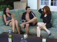 Buxom redhead invites her friend offer for a kinky ffm threesome with her hubby tube porn video