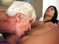 Lesbian grandmas lick young Russian pussy tube porn video