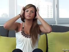 Casting couch video of a starlet having her first on camera fuck tube porn video