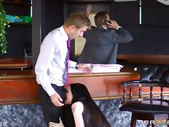 Boss's Bratty Daughter in an enticing clip with a security officer in washroom tube porn video