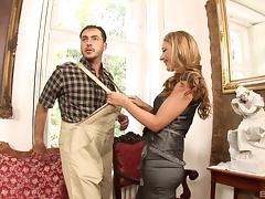 Handyman and a beautiful blonde in stockings fucking tube porn video