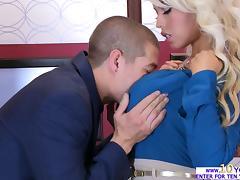 Busty Bridgette enjoys a hardcore fuck in the elevator tube porn video