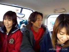 Cute teen asians having fun in the car tube porn video