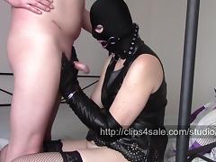Handcuffs, two pairs of leather opera gloves and handjob tube porn video