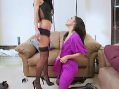 Naughty brunette seduces her friend into lesbian sex with tube porn video