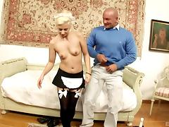 His blonde French maid keeps her stockings on to fuck tube porn video
