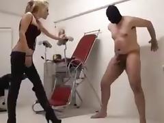 Sadistic Domina found a boy toy for ballkicking tube porn video