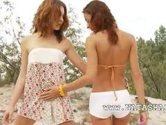 Russian teens dildoing on the beach tube porn video