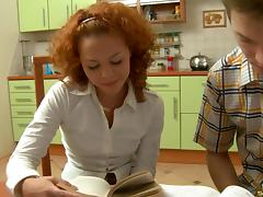 Adorable girl with curly red hair pounded up the ass tube porn video