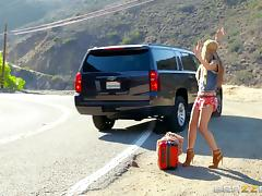 Hitchhiking hippie girl picked up and fucked in the car tube porn video