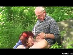 Granny and Grandpa fuck outdoor tube porn video