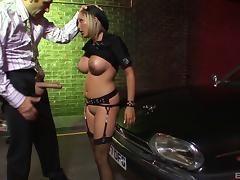 Slutty cop with big fake titties sucking big cock tube porn video