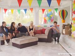 Fun birthday party turns into a full blow group sex party tube porn video
