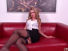 Stockings babe Randy Moore strips and masturbates solo tube porn video