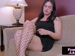 Fresh trap jerking while in stockings tube porn video