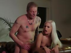 Luscious blonde fucked hard by senior step dad tube porn video