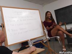 White guys line up to gangbang this slutty black chick in class tube porn video