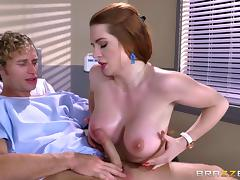 Athletic fucking of a hot redhead with amazing big tits tube porn video