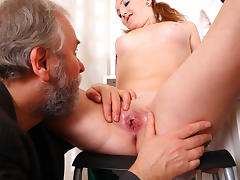 sexy girl's pussy is eaten out and licked and then fucked by two men until covered in cum - OldGoesYoung tube porn video