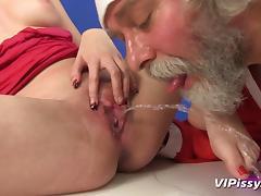 Santa pisses on a pretty girl and fucks her hardcore tube porn video