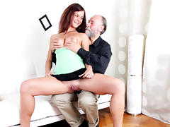 Russian girl having sex with an old bearded man her boyfriend's uncle - OldGoesYoung tube porn video
