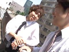 Natural tits on a sexy Japanese office babe fucking tube porn video