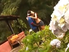 Interracial couple in the garden tube porn video