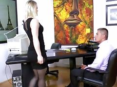 Secretary Ash Hollywood fucking in black stockings tube porn video
