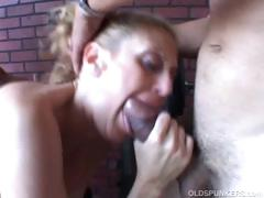 Sexy old spunker gets spit roasted tube porn video
