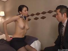 Stewardess in a skirt and pantyhose fucks in a hotel room tube porn video