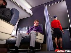 Slutty tattooed blonde stewardess fucking in first class tube porn video