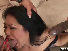 Gorgeous chick Lyla has a threesome with two pretty fat cocks tube porn video