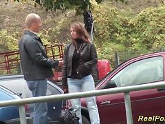 German Stepmom picked up for outdoor sex tube porn video