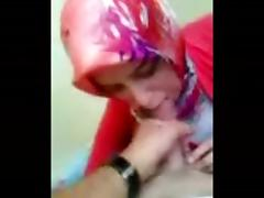 Turkish girl in Hijab blows and takes cum shot tube porn video