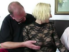 XxxOmas - Fat German slut gets fucked hard in foursome tube porn video